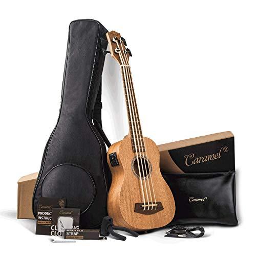 Caramel CUB400Ukulele aus massivem Mahagoniholz, Bass mit Halsspannstab