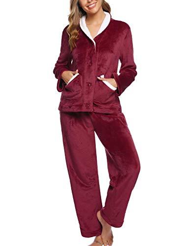 Abollria Pijamas Mujer Invierno Franela Conjunto de Pijama para Mujer,Botones Largo Mangas Larga Pantalones Ropa de Casa 2 Piezas