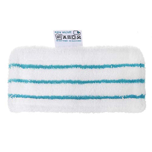 fivekim Steam Mop Remplacement Pad Microfiber Lavable Mop Cloth pour Black & Decker Fsm1610 Steam Mop Cleaning Cloth Blue + White