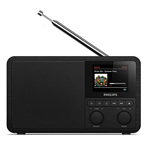 Philips Audio Radio Internet PR802/12 Dab+ Internet Radio (Bluetooth, Dab+, Temporizador, Alarma Dual, Conexión con Spotify), Color Negro