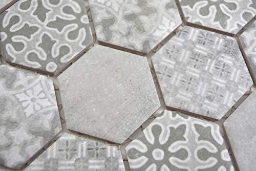 Handmuster Keramik Mosaik Hexagon grau Mosaikfliese Wand Fliesenspiegel Küche Bad MOS11H-0002_m