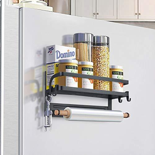 KINLO Mensola magnetica per frigorifero con portata massima – 5 kg, mensola sospesa per frigorifero, portaspezie magnetico, 30 x 10,5 x 16 cm, scaffale da cucina con porta rotolo 4 ganci nero opaco