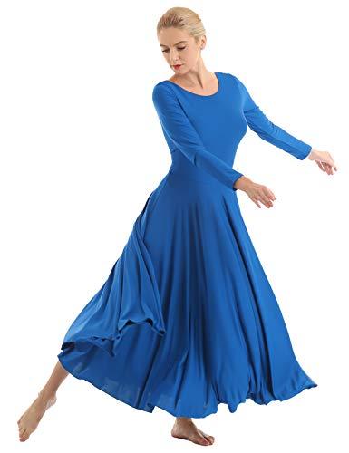 IEFIEL Vestido Princesa Maillot de Danza Ballet para Mujer Chica Vestido Largo de Actuación Fiesta Invierno Otoño Manga Larga Vestido Baile Flemenco Azul A XXL