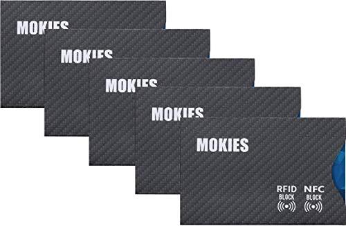 MOKIES RFID NFC Schutzhülle - Reiß- und Wasserfest - 100% RFID NFC Schutz gegen unerlaubtes Auslesen - EC-Karten Hülle - RFID-/NFC-Blocker - 5 Stück