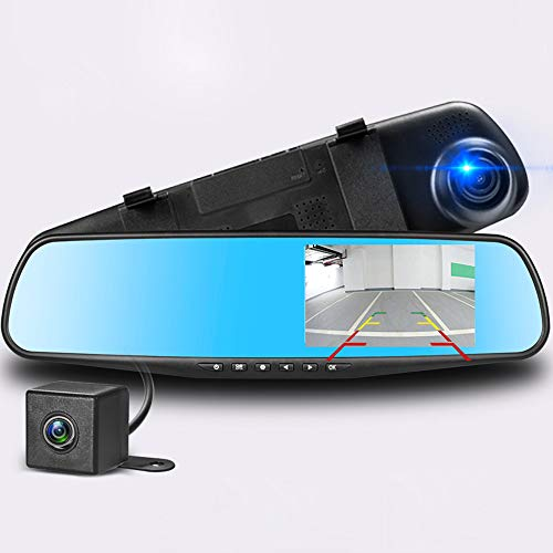 Podazz 1080P Full HDGrabadora de conducción, cámara de salpicadero de doble lente de ángulo de vídeo para salpicadero de coche, espejo retrovisor frontal y trasero,DVR con sensor G.