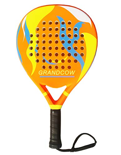 GRANDCOW Padel Racket Racquet Pro Carbon Fiber Power Lite EVA Foam Pop Tennis Paddle Paddleball Racquets (Orange)