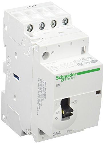 Schneider Electric A9C21834 iCT contacteur à commande manuelle, Acti9, 25 A, 4NO, 230-240VCA, 50 Hz, Blanc