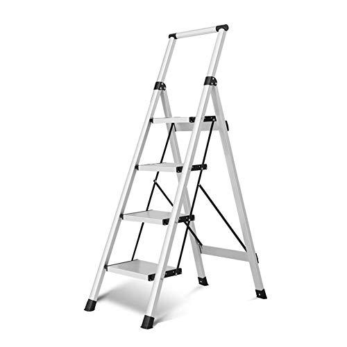 SOAR Escaleras telescópicas Taburete De Escalera Aleación De Aluminio Casa 4 Pasos Taburete Plegable Escalera De Mano, Antideslizante, Puede Soportar 150kg (Color : C)