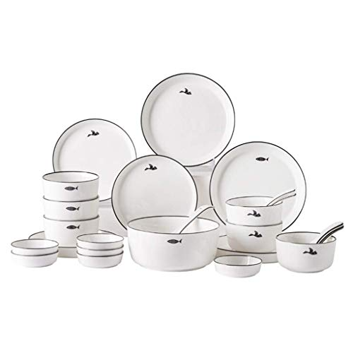 GAXQFEI Cerámica Vajillas, 26 Piezas Hechas a Mano Negro Stroke Porcelana Platos - Bol/Plato/Cuchara | Microondas Seguro Porcelana Combinación Juego de Vajilla para Restaurante