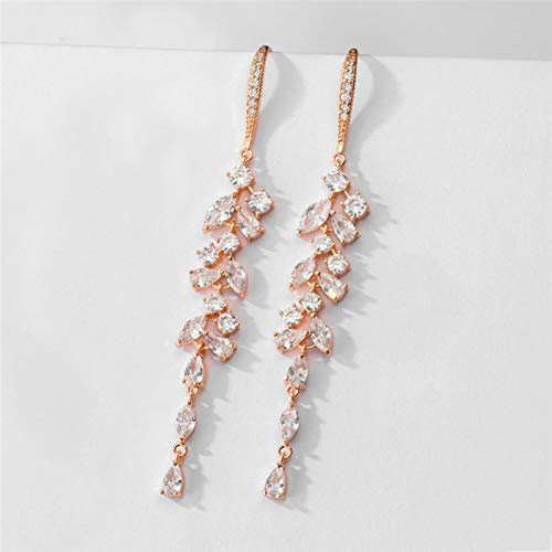 Zirconia Crystal Leaf Long Drop Earrings for Elegant Women Bridal Wedding Jewelry Accessories Gift
