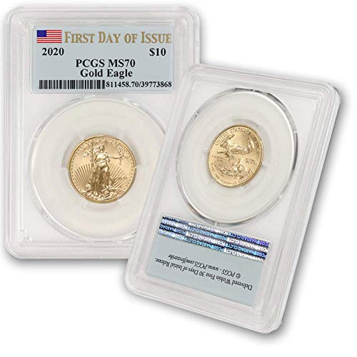 2020 1/4 Oz Gold American Eagle MS-70 (First Day of Issue) Flag Label by CoinFolio $10 MS70 PCGS