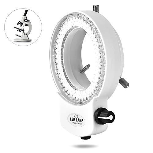 Mikroskop Kamera Lampe,144 LED Perlen Licht Ringlicht Illuminator Über 18000LUX 4.5W LED Ringliht Ringbeleuchtung Quellenhelligkeit Einstellbare Schattenfrei Beleuchtung Ringleuchte(Weiß)