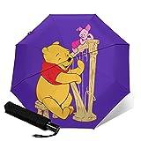 Winnie Pooh Paraguas automático de tres plegables, ligero y portátil, tanto para fines soleados como lluviosos, sombreado al sol y a prueba de rayos UV
