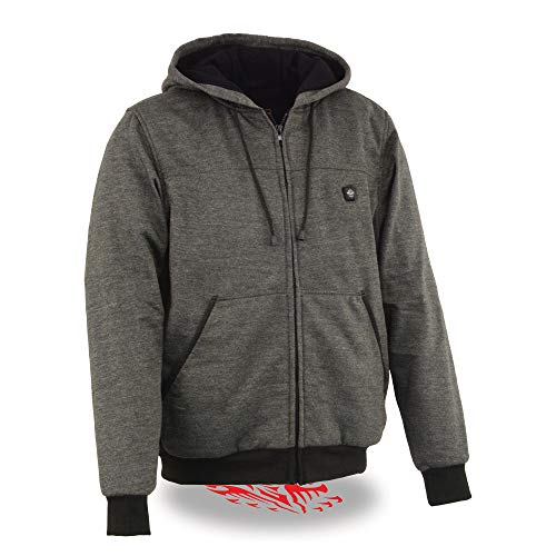 Milwaukee Leather MPM1713SET Men's Grey Heated Hoodie with Included Battery Pack - Large