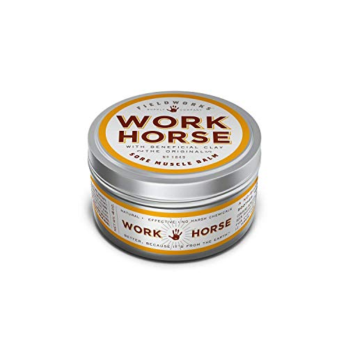 Muscle Warming Balm for Relieving Arthritis, Back Pain, Sore Muscles, Joint & Chronic Pain. Quickly Reduces Bruises & Inflammation. Smells Great. Natural Relief by Work Horse