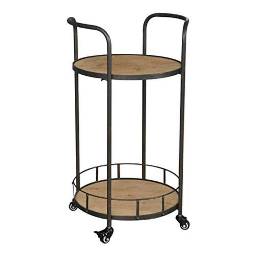 XUSHEN-HU Mesa de café de hierro forjado retro creativa de 2 pisos para vino, comedor, coche, balcón, mini mesa de café extraíble (negro, 85 x 51 x 10 cm) para cocina