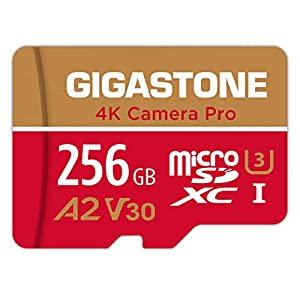 Gigastone 256GB Micro SD Card, A2 V30 Runs App for Smartphone, UHD 4K Video Recording, High speed 4K Gaming 100MB/s, Micro SDXC UHS-I U3 C10 Class 10 Memory Card with Adapter, 5-year Warranty