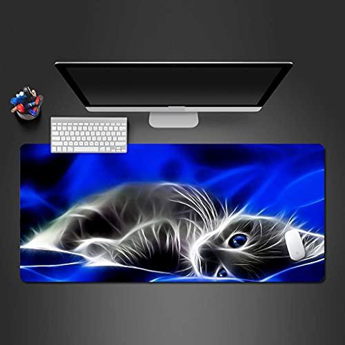 NZTCRFP Alfombrilla De Ratón Gaming Gato Animal Azul Alfombrilla De Escritorio 900X400X3MM,...