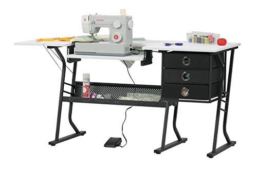 Sew Ready Eclipse Hobby Sewing Center Sewing Craft Table Sturdy Computer Desk with Drawers in Black/White, 13362