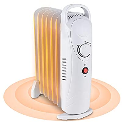 Oil Filled Radiator Heater, Small Portable Space Heater with Adjustable Programmable Thermostat, Quiet, Overheat Protection, 7 Oil Heating Fins, 700W Mini Heater for Home Office (White)