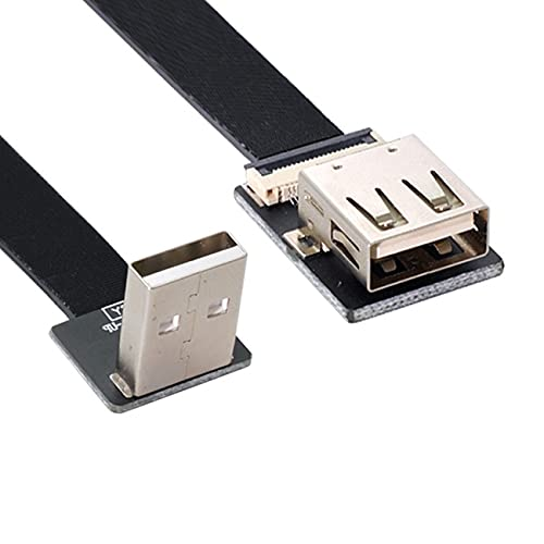 NFHK Up Angled USB 2.0 Type-A Male to Female Extension Data Flat...