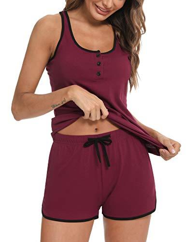 Doaraha Pijama Mujer Corto Verano Ropa de Dormir Algodón Botones Camiseta sin Mangas Pantalones Cortos Conjunto de Pijamas Suave y Transpirable Dos Piezes (Vino Rojo, L)