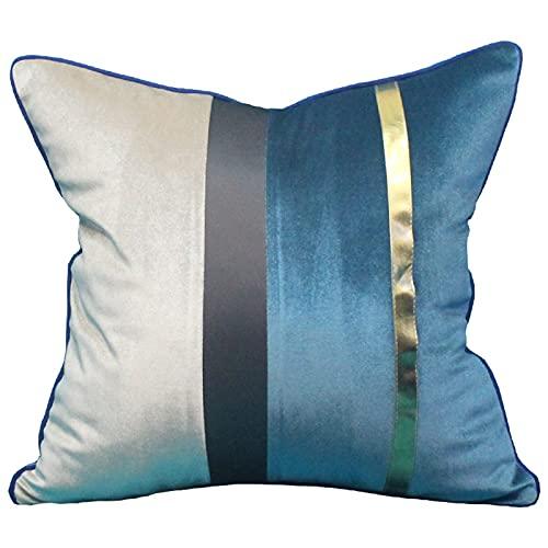 QXbecky Federa Blu scuro, colore caffè, grigio scuro, linea viola federa quadrata (senza anima) accessori per la decorazione del divano moderno e minimalista 60 cm
