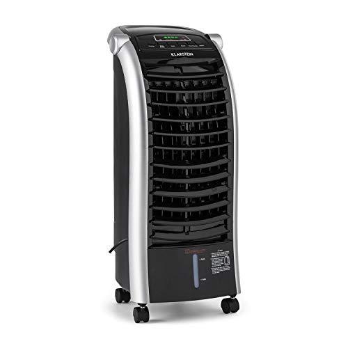 KLARSTEIN Maxfresh - Enfriador de Aire 3 en 1, Climatizador evaporativo, 55 W, 444 m³/h, 4 velocidades, 3 Modos: Normal, Naturaleza, Noche, Temporizador hasta 15 h, Capacidad: 6 L, Negro Grafito