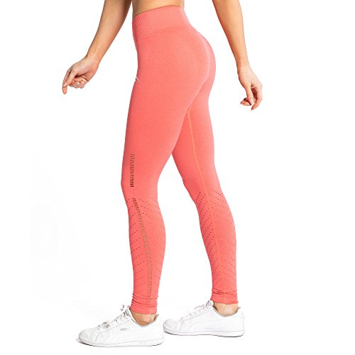SMILODOX Damen Seamless Leggings Snip, Größe:L, Farbe:Koralle