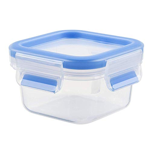 Tefal Container 0.25 L Clip and Close Square (BPA Free, Airtight, Food Storage Box with Lid, 100% Leak-Proof, Dishwasher, Microwave Safe, Made in Germany), 0,25 L, Transparent/Blue