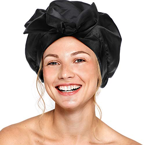 Bonnet de Douche à Nœud Réutilisable Bonnet de Douche Impermeable Femme Étanche Bonnet de Douche de Double Couche Bonnet de Bain Élastique pour Fille Maison Salon Spa Bain (Noir)
