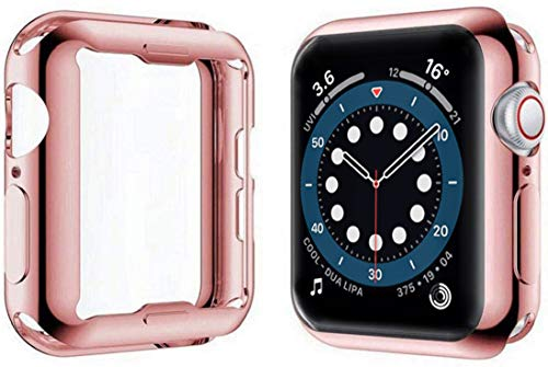 Yolin [2-Pack] All-around TPU Screen Protector Compatible with Apple Watch Series 6/ SE/Series 5 / Series 4 44mm, Soft Protective Case For iwatch 44mm (1 Rose-Pink + 1 Transparent)