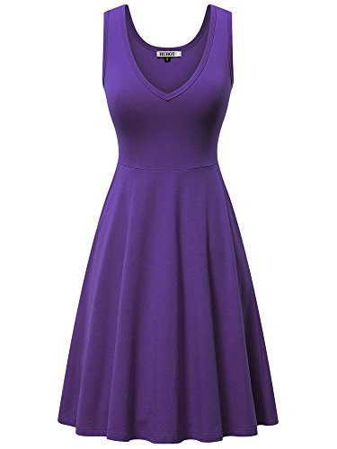 Work Dress,Women Sleeveless A-Line V Neck Office Dress with Pocket Casual Short Dress(Purple,Small)