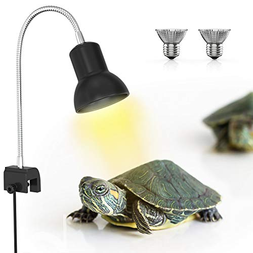 DADYPET Lampe Terrarium avec Support, 2 Ampoules Basking Spot UVA 25W avec Pince pivotante à 360 ° et Adaptateur Secteur EU, Lampe Chauffante Terrarium pour Reptiles et Amphibiens