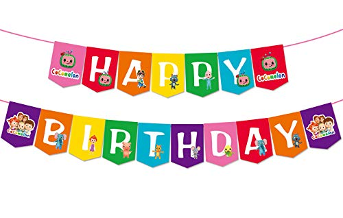 Cocomelon Inspired Happy Birthday Banner Gaming Party Supplies For Kids and Adults Birthday Party Decorations