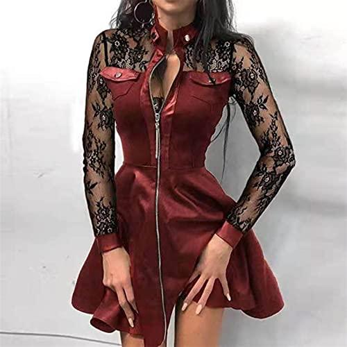 Cuello De Soporte Con Cremallera Mangas Largas Mini Vestido Casual Otoño Invierno Moda Pocket PU Vestidos De Cuero Vestidos 1033 (Color : 01 Lace Wine Red, Size : Large)