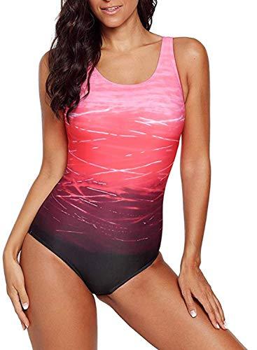 Aleumdr Badeanzug Damen Push up Bademode Schwimmanzug Bauchweg Farbverlauf Figurformenden Effekten Rückenfrei Bandeau S-XL, Rot, Medium (EU36-EU38)