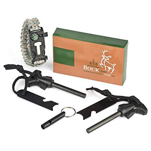 BOCK 2005 2 x Feuerstahl Feuerstarter 1x Armband sowie 1x Pfeife für Outdoor Survival und Camping Outdoor Survival Armband Feuerstein