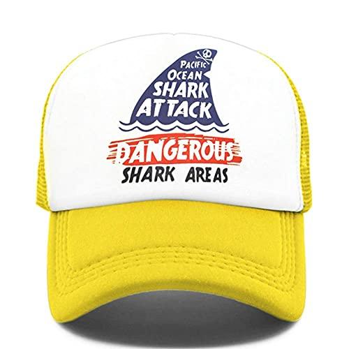Gorras De Hombre Gorra de camionero con áreas de tiburón, gorra de surf con ataque de tiburón, gorra de surf en la playa, gorra de malla de verano fresca de Hip Hop peligrosa para hombres y mujeres