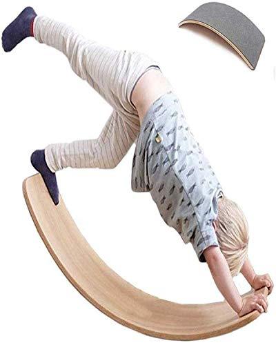 DSZZ Health Balance Board Wobble Kid Waldorf Yoga de Madera de los niños Junta Curvy como en Cualquier Esquina, Túnel, Barco, Rocker, Diapositivas, Mesa, Equilibrio - Juguetes educativos,Gris