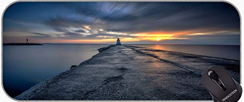 Full Desk XXL Extended Gaming Mouse Pad,Lighthouse Sea Cliffs Water Away Road Non-Slip Laptop Computer Keyboard Mousepad