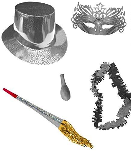 CAPRILO Lote de 10 Bolsas de Cotillones Decorativas Serie Plata. Cotillón para Fiestas y Eventos. Decoración Original para Bodas, Comuniones,Cumpleaños y Fin de Año(Nochevieja).