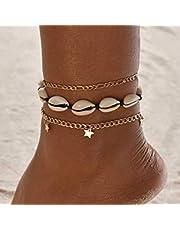 Handcess Boho - Cavigliera a strati con paillettes dorate a forma di stella, da spiaggia, per donne e ragazze
