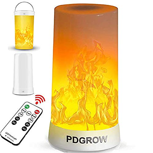 LED Flamme Lampe, PDGROW USB wiederaufladbare led flammeneffekt Nachtlicht, Schreibtisch/Tischlampe wasserdicht mit Fernbedinung für Weihnachten, Halloween, Party, Innen/Außenbereich
