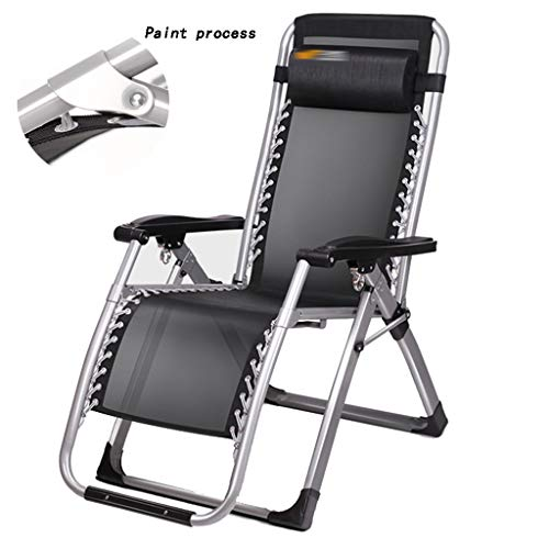 Liegen Liegestuhl faul Sofa Freizeitstuhl tragbar nach Hause Balkon Freizeitstuhl faltbar Mittagspause Nickerchen Sessel (Color : Black, Size : 180 * 60 * 80cm)