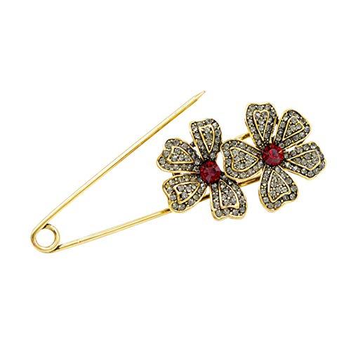 2 colores disponibles Rhinestone flor grande pin broches para las mujeres estilo vintage hermosa capa accesorios nueva llegada rojo
