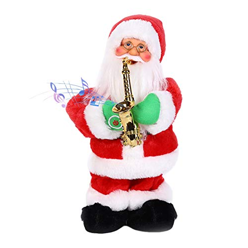 genialkiki Musical Santa Claus Toys, Santa Claus Play Saxophone Doll Pendant 2021 Electric Singing Standing Decorations Funny Christmas Decor Kids Gifts