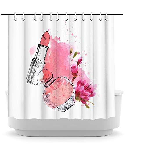 iKNOW FOTO Makeup Shower Curtain Fashion Lipsticks Perfume Girly Decor Bathroom Decor Curtain for Bathtub Shower Polyester Fabric Shower Curtain Waterproof 72x72inch