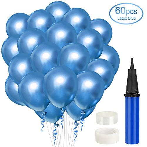 Gafild 60PCS Blue Metallic-Luftballons, Blau Metallic-Luftballons Set Latex Partyzubehör partyballon Ballons für Geburtstag Hochzeitsfest,abydusche Taufe Konfirmation Party Deko