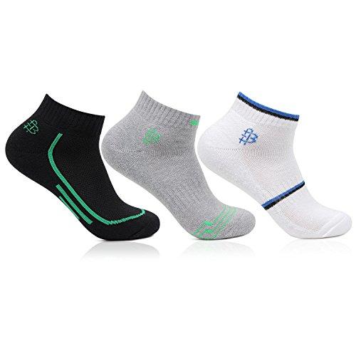 Men's Cushioned Multicoloured Secret Length Sports Socks- Pack of 3